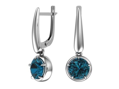 Серебряные серьги с кварцем синтетическим синим
