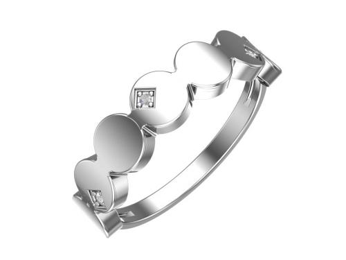 Серебряное кольцо с бесцветными фианитами