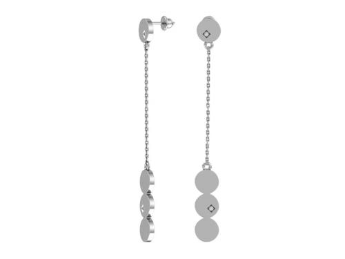 Серебряные пусеты с бесцветными фианитами
