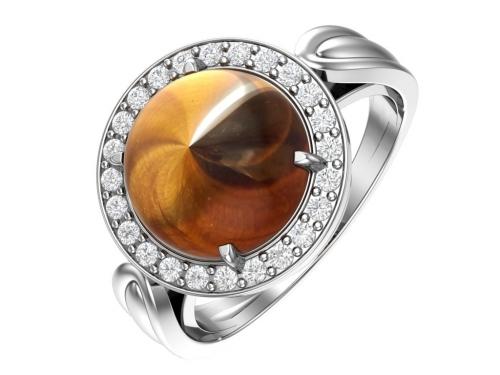 Серебряное кольцо с кошачьим глазом и бесцветными фианитами