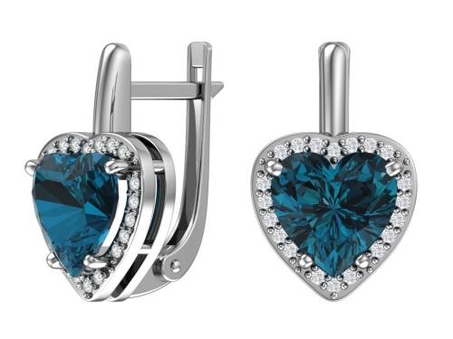 Серебряные серьги с кварцем синтетическим голубым и бесцветными фианитами