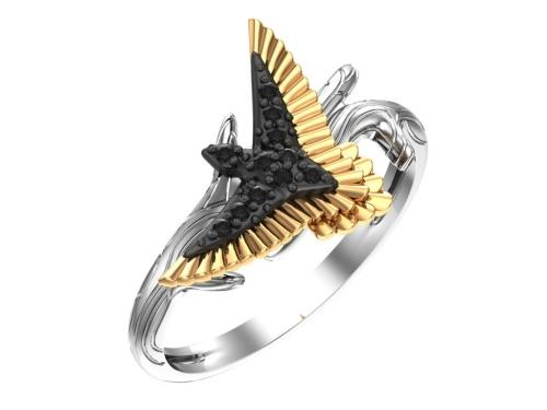Серебряное кольцо с чёрными фианитами с золочением