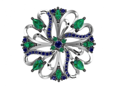 Серебряная брошь «Яркий цветок» с зелеными и сапфировыми фианитами