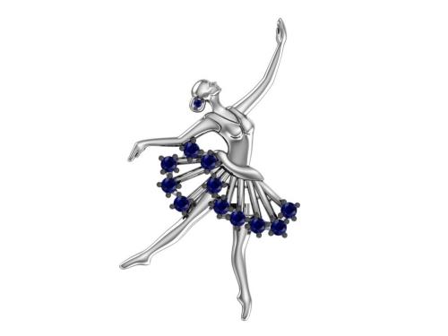 Серебряная брошь «Балерина» сапфировыми фианитами