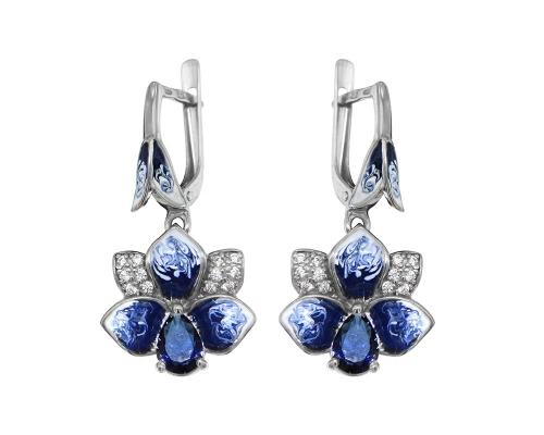 Серебряные серьги с эмалью и фианитами синими и бесцветными