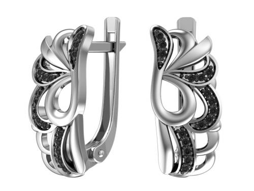 Серебряные серьги с чёрными фианитами
