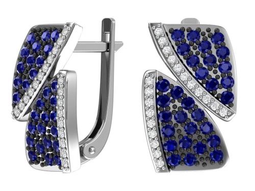 Серебряные серьги с синими и бесцветными фианитами