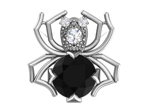 Серебряная брошь «Паучок» с чёрным синтетическим кварцем и бесцветными фианитами