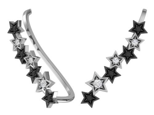 Серебряные серьги-каффы «Звездный путь» с чёрными и бесцветными фианитами