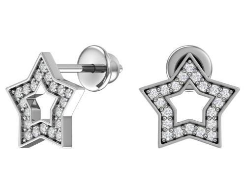 Серебряные пусеты «Звездочки»