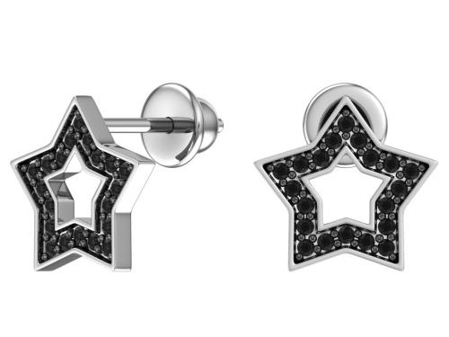 Серебряные пусеты «Звездочки» с чёрными фианитами