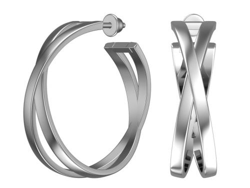 Серебряные пусеты - кольца «Переплетение»
