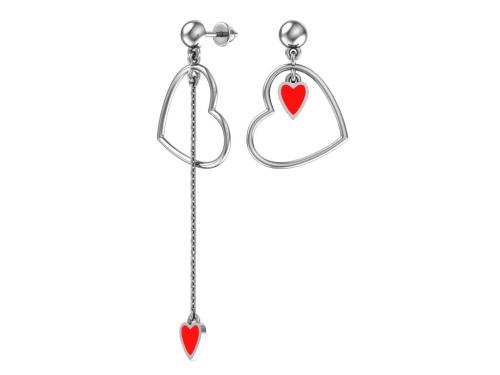 Серебряные длинные асимметричные пусеты «Сердечки» с красной эмалью