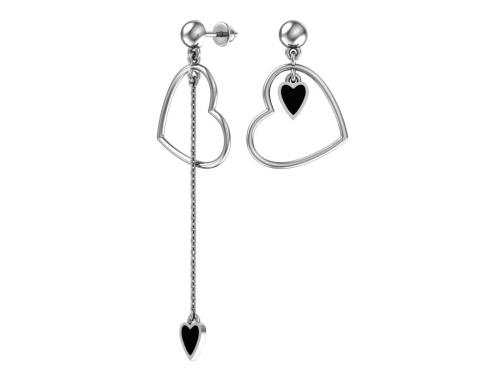Серебряные длинные асимметричные пусеты «Сердечки» с чёрной эмалью