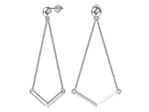 Серебряные длинные пусеты с цепями